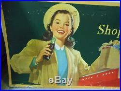 VINTAGE 1940'S COKE/COCA-COLA CARDBOARD ADVERTISING SIGN-SHOP REFRESHED-27 x 56