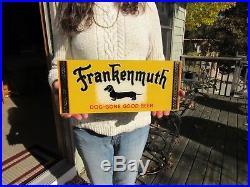 VINTAGE 1940's FRANKENMUTH DOG-GONE GOOD BEER SIGN NOS REVERSE PAINTED ON GLASS