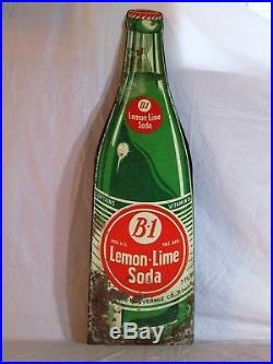 VINTAGE 1950's B-1 LEMON-LIME SODA POP GAS STATION 28 EMBOSSED METAL SIGN