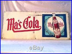 VINTAGE 1950's Ma's COLA SODA POP BOTTLE GAS STATION 28 EMBOSSED METAL SIGN