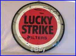 VINTAGE 1960's LUCKY STRIKE CIGARETTES TOBACCO GAS OIL 2 SIDED 20 METAL SIGN