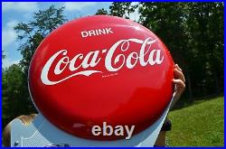 VINTAGE 40s COCA COLA DOUBLE BUTTON FLANGE SIGN with RARE METAL FLANGE DEAD MINT