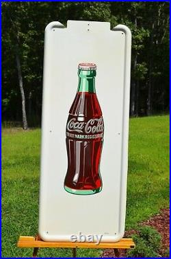 VINTAGE 40s COCA COLA OLD DRINK BOTTLE PILASTER with BUTTON SIGN MINTY