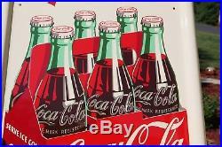 VINTAGE 50's COCA COLA SODA 6 PACK ARROW SODA DRINK PILASTER SIGN MINTY NOS