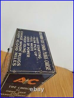 VINTAGE AC SPARK PLUG DISPLAY CABINET sign rack countertop display gas station