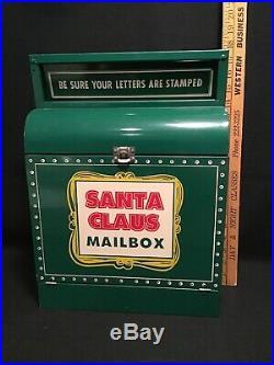VINTAGE CHRISTMAS Santa Claus Mail Box Indiana Advertising Metal Corp Gas Oil