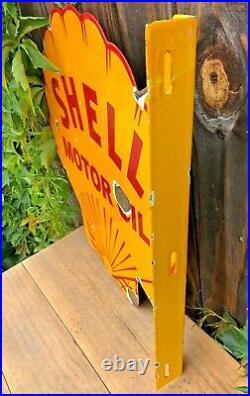 VINTAGE DOUBLE SIDED SHELL MOTOR OIL FLANGE 18.5 x 18 PORCELAIN ENAMEL OIL SIGN