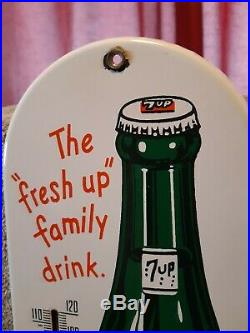 VINTAGE EARLY 1960'S 7UP SODA 15'' porcelain THERMOMETER / SIGN