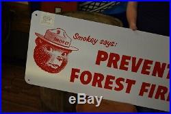VINTAGE ORIGINAL SMOKEY THE BEAR PREVENT FOREST FIRES SIGN Original DOJ made