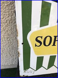 VINTAGE R WHITE'S SOFT DRINKS ORIGINAL ENAMEL ADVERTISING SIGN 1960s