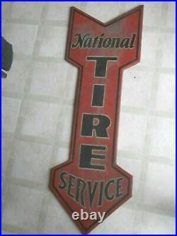 VINTAGE RARE CA. EARLY 1900'S NATIONAL TIRE SERVICE GAS STATION 48 Metal SignVN