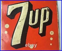 VINTAGE SODA 1951 7up METAL ADVERTISING SIGN RARE USA STOUT SIGN CO ST LOUIS MO