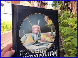 VINTAGE TIN OVER CARDBOARD c. 1920 METROPOLITAIN ICE CREAM SODA FOUNTAIN SIGN