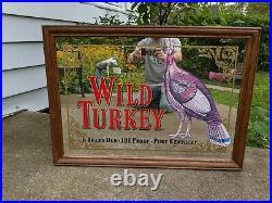 VINTAGE WILD TURKEY BOURBON BAR MIRROR ADVERTISING WOOD FRAME 24x36