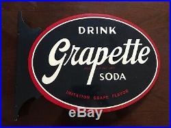 VIntage Antique GRAPETTE Soda Coke Advertising FLANGE Stout Sign Co. NEAR MINT