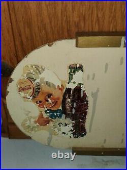 VTG 1940s COCA-COLA SPRITE BOY KAY DISPLAY MASONITE WOOD SIGN 12 METAL BUTTON