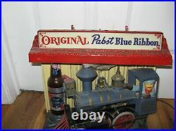 VTG 1961 Pabst Blue Ribbon Rocking Animated Train Advertising Bar Sign Light Up