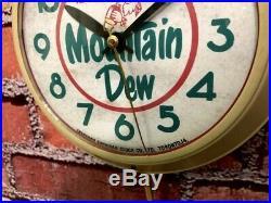 VTG 50's INGRAHAM STORE ADVERTISING MOUNTAIN DEW SODA OLD DINER-WALL-CLOCK SIGN