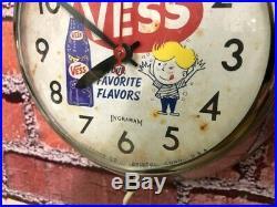 VTG 50s INGRAHAM CHROME VESS-WHISTLE SODA-OLD STORE ADVERTISING-DINER CLOCK SIGN