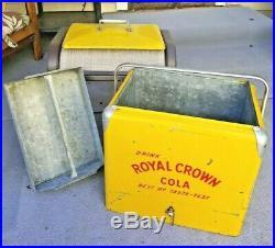 VTG 50s RC Royal Crown Cola Picnic Cooler Embossed Metal Sign Soda Advertisement