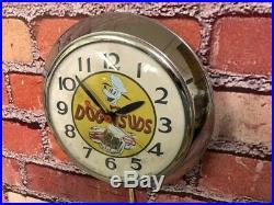 VTG INGRAHAM DOG n SUDS ROOT BEER CHROME SODA ADVERTISING-DINER WALL CLOCK SIGN