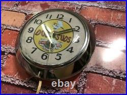 VTG INGRAHAM DOG n SUDS ROOT BEER OLD CHROME DINER ADVERTISING WALL CLOCK SIGN