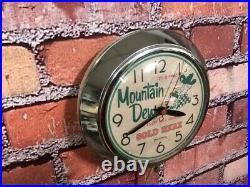 VTG INGRAHAM MOUNTAIN DEW SODA OLD CHROME 50's DINER ADVERTISING WALL CLOCK SIGN