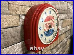 VTG TELECHRON PEPSI-COLA SODA OLD 50s RED DECO DINER ADVERTISING WALL CLOCK SIGN