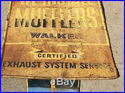 VinTagE OriGiNaL WALKER MUFFLER SIGN with Service Station ATTENDANT GaS OiL OLD