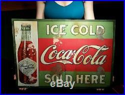 Vintage 1908 Coca Cola Soda Drink Sign Diamond Label Bottle Century Old Rare