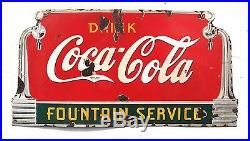 Vintage 1930's Coca Cola Fountain Service Soda Pop Porcelain Metal Sign 27 Long