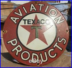Vintage 1930's Old Antique Rare Aviation Texaco Oil Porcelain Enamel Sign Board