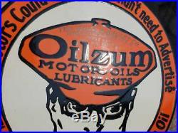 Vintage 1930's Old Antique Very Rare Oilzum Oil Adv. Porcelain Enamel Sign Board