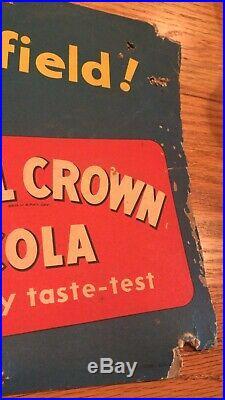 Vintage 1930s 40s Royal Crown RC Cola Soda Nehi Sign Football Nice Patina