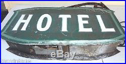 Vintage 1930s Art Deco Metal Electric Box Sign HOTEL with Cast Iron Wall Bracket
