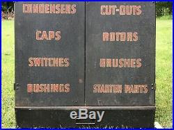 Vintage 1930s P&D Ignition Parts Service Cabinet Industrial Metal Sign Gas Oil