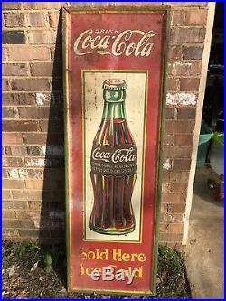Vintage 1932 Coca Cola Christmas Bottle Metal Advertising Sign