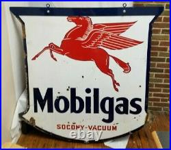 Vintage 1937 Pegasus Mobilgas Socony-Vacuum porcelain 2-sided advertising Sign