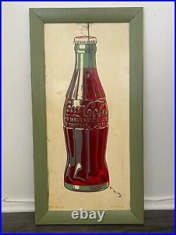Vintage 1940's Coca Cola Bottle Sign Soda Pop Gas Oil Sign 19 x 37