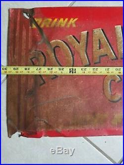 Vintage 1940's RC Royal Crown Cola Soda Pop Bottle 30 Embossed Metal Sign