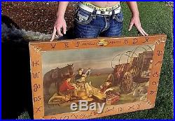 Vintage 1941 Falstaff Beer Cardboard Brand Sign 42X29 Western Horse Stagecoach