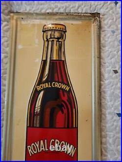Vintage 1947 Royal Crown Soda Embossed Advertising Sign 36x16