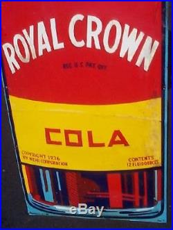 Vintage 1949 Early RC Royal Crown Tall Vertical Metal Soda Pop Bottle Sign 59x16