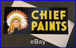 Vintage 1950-60's Chief Paints Double Sided Metal Sign new old stock never hung