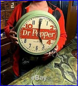 Vintage 1950 Dr Pepper Soda Pop Bubble Glass Clock Sign Works