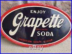 Vintage 1950 Grapette Grape Soda Pop Gas Station 10 x 17Embossed Metal Sign