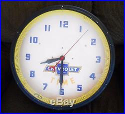 Vintage 1950's Chevrolet Advertising Neon Clock Sign
