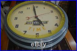 Vintage 1950's Chevrolet Advertising Neon Clock Sign MINT Garage Fresh