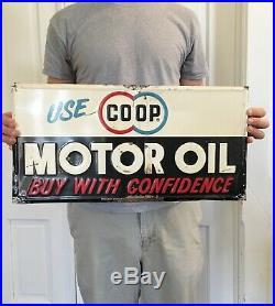 Vintage 1950's Coop Co Op Motor Oil Gas Feed Seed Farm 20 Embossed Metal Sign
