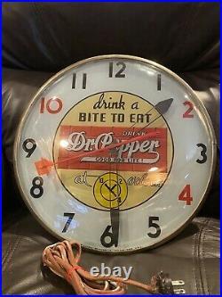 Vintage 1950's Dr Pepper Soda Pop Gas Station 15 Lighted Clock Sign WORKS